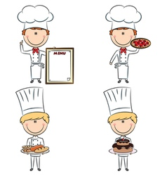Smart cute chef men vector image