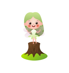 smiling green hair fairy girl stay on tree stump vector image