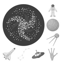 Space technology monochrome icons in set vector