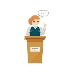 Spokeswoman on podium isolated cartoon vector image