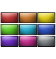 Square buttons in nine colors vector