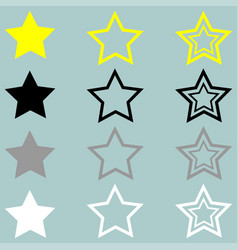 Star yellow black grey white icon vector