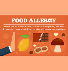Stop food allergy concept banner flat style vector