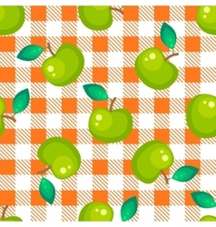 Tartan plaid and green apple seamless pattern vector