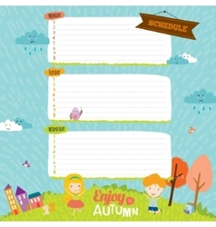 Template for school notebook diary and organizers vector