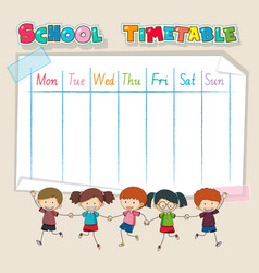 timetable school planning with characters vector image