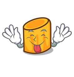 Tongue out rigatoni mascot cartoon style vector