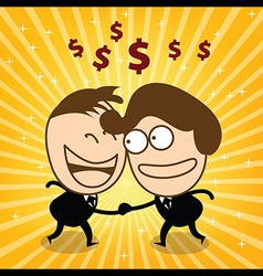 Two cute businessman check hand and joyfull their vector