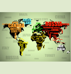 typography colorful world made up names of vector image