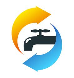 water tap blue and orange arrows symbol vector image