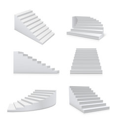 white stairs realistic set architecture and vector image