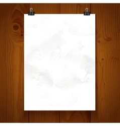 White texture paper hanging on binder on a vector