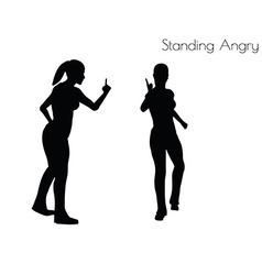 Woman in Standing Angry pose vector