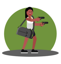 Woman with gun and a bag of cash vector