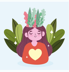World mental health day happy girl with foliage vector
