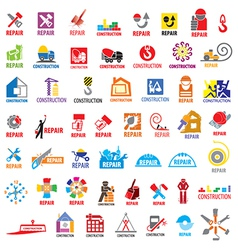 biggest collection of logos construction vector image