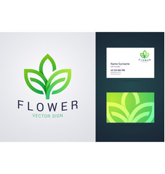 Flower logo template and business card template vector