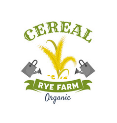 organic cereal emblem with rye ears and grain vector image vector image