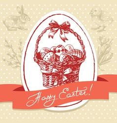 Vintage Easter background hand drawn vector image vector image
