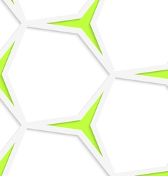 White hexagonal net and green stars seamless vector image vector image