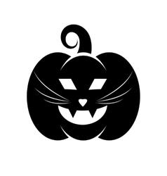 Black icon of halloween cat pumpkin vector