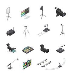 broadcasting equipment icon set vector image