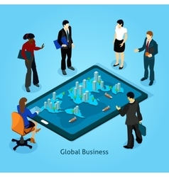 Business People Isometric Composition Icons Set vector image vector image