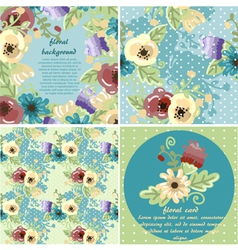 collection of flowers frames and seamless textures vector image