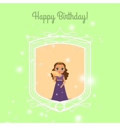 Happy Birthday card with fairy princess vector image