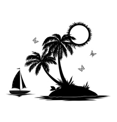 Island with palm and ship silhouettes vector image