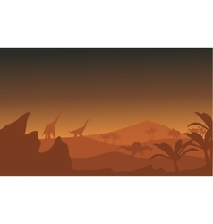 Silhouette of dinosaur in fields vector image vector image