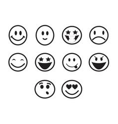 thin line emoticons icon set vector image