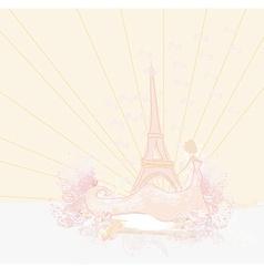 beautiful women silhouette in Paris - card vector image