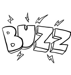 black and white freehand drawn cartoon buzz symbol vector image vector image