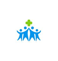cross care happy people logo vector image