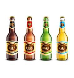 glass beer bottles realistic set vector image