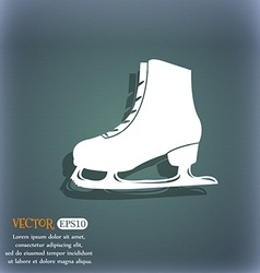 Ice skate icon on the blue-green abstract vector