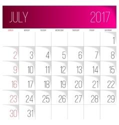 July 2017 calendar template vector image vector image