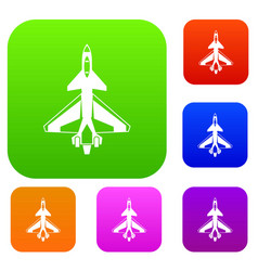 military fighter jet set collection vector image