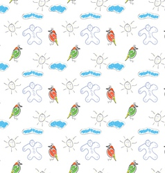 seamless wallpaper children drawings of the sun vector image vector image