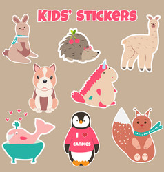 set of cute kids stickers with different animals vector image vector image