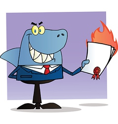 Shark Businessman Holding A Flaming Bad Contract vector image