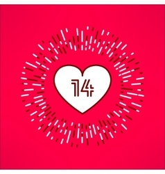 valentines heart with fourteen number vector image