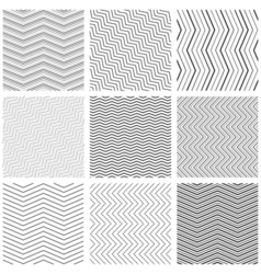 Zigzag seamless pattern set zig zag black simple vector image