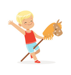 cute smiling little boy riding on wooden stick vector image
