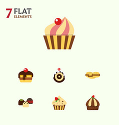 flat cake set of cake sweetmeat biscuit and vector image vector image