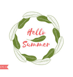 graphic tropical wreath in green and pink colors vector image vector image