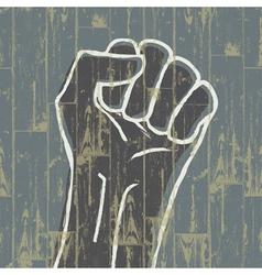 grunge fist symbol vector image vector image