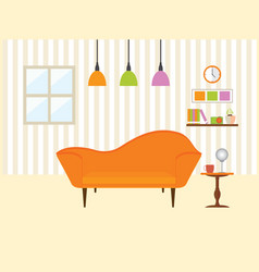 Living room with sofa furniture vector