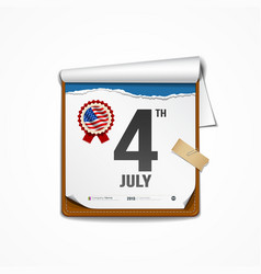 Paper calender independence day american vector image